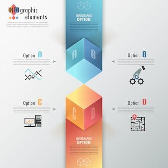 Faixa de opções de infografia moderna com cubos