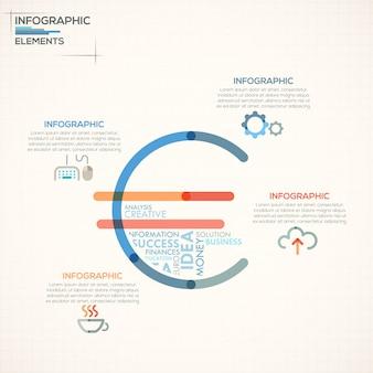 Faixa de opções de infografia moderna com euro colorido