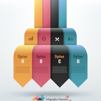 Faixa de opções de infografia moderna com fitas