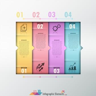 Faixa de opções de infografia moderna com formas coloridas