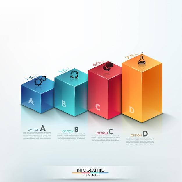 Faixa de opções de infografia moderna com gráfico de colunas