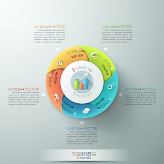 Faixa de opções de infografia moderna com gráfico de pizza de 5 partes