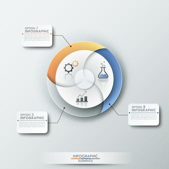 Faixa de opções de infografia moderna com gráfico de pizza em 3 partes