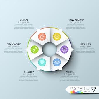 Faixa de opções de infografia moderna com gráfico de pizza em 6 partes e ícones
