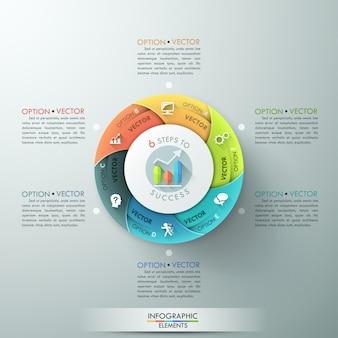 Faixa de opções de infografia moderna com gráfico de pizza em 6 partes