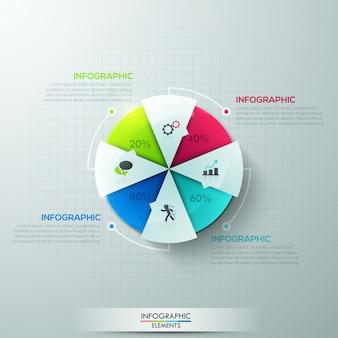 Faixa de opções de infografia moderna com gráfico de pizza