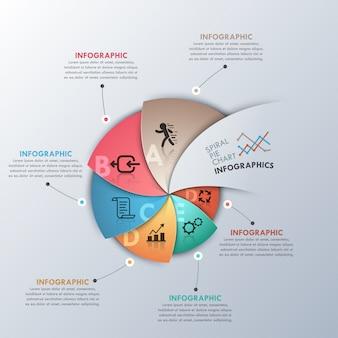 Faixa de opções de infografia moderna com gráfico em espiral