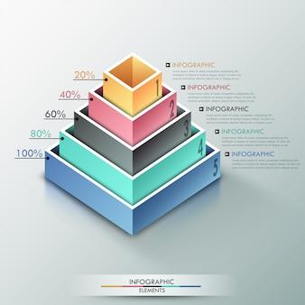 Faixa de opções de infografia moderna com pirâmide 3d