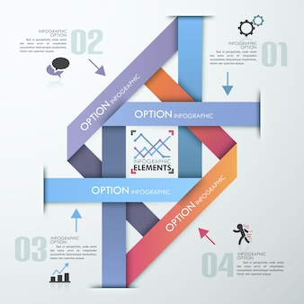 Faixa de opções de infografia moderna com pirâmide colorida