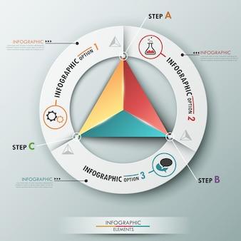 Faixa de opções de infografia moderna com pirâmide