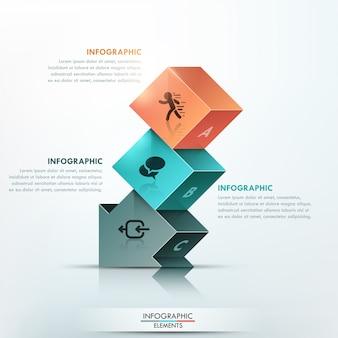 Faixa de opções de infografia moderna com seta 3d