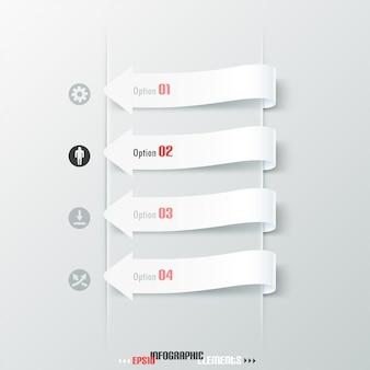 Faixa de opções de infografia moderna com setas brancas