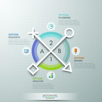 Faixa de opções de infografia moderna com setas de papel