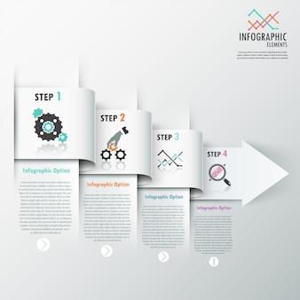 Faixa de opções de infografia moderna com setas