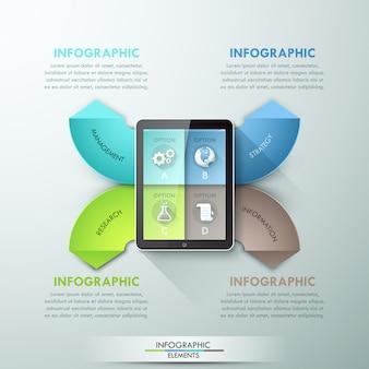 Faixa de opções de infografia moderna com tablet e fitas