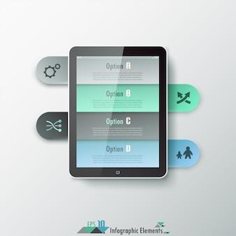 Faixa de opções de infografia moderna com tablet