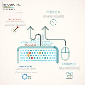 Faixa de opções de infografia moderna com teclado colorido