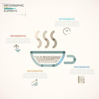 Faixa de opções de infografia moderna com xícara de chá colorido