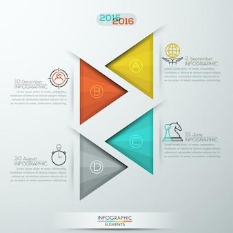 Faixa de opções de infográficos de estilo moderno para 4 etapas com triângulos