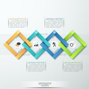 Faixa de opções de infográficos de papel empresarial moderno