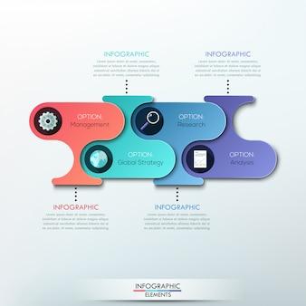 Faixa de opções de infográficos de papel moderno