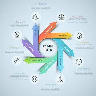 Faixa de opções de infográficos espiral moderna