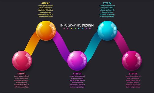 Faixa de opções de infográficos modernos com esferas coloridas