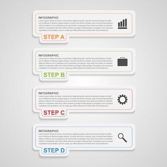 Faixa de opções do infográfico de papel moderno.