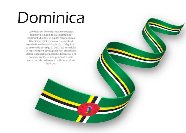 Faixa de opções ou banner com bandeira da dominica. modelo para design de pôster do dia da independência
