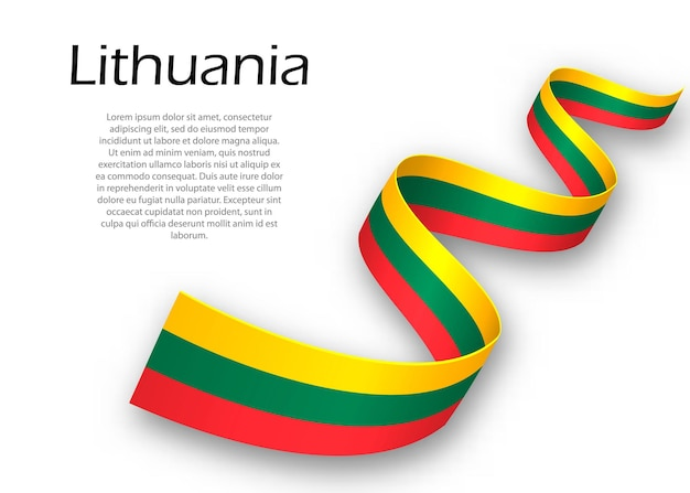 Faixa de opções ou banner com bandeira da lituânia. modelo para design de pôster do dia da independência