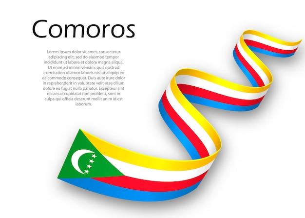 Faixa de opções ou banner com bandeira das comores. modelo para design de pôster do dia da independência