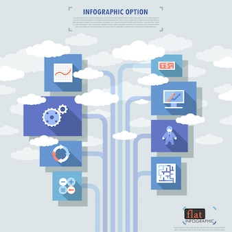 Faixa de opções plana infográfico com ícones e nuvens