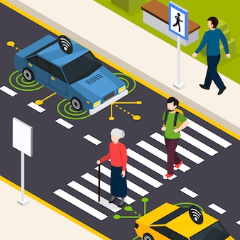 Faixa de pedestres cidade isométrica