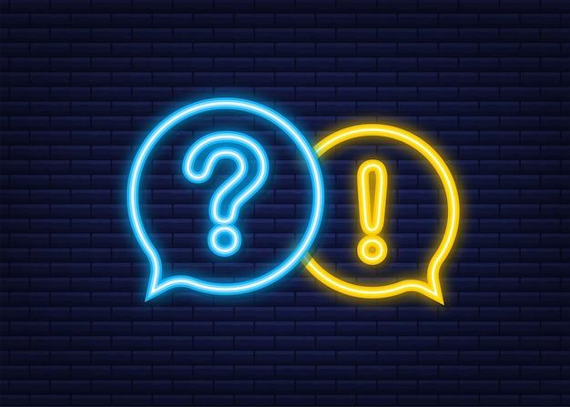 Faixa de perguntas e respostas. ícone de néon. banner do megafone. designer de web. ilustração em vetor das ações.