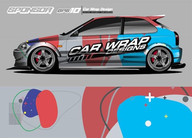 Faixa de resumo de corrida gráfica de carro envoltório e fundo para envoltório de carro e adesivo de vinil