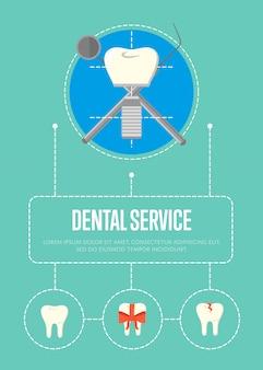Faixa de serviço odontológico com implante dentário