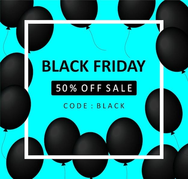 Faixa de venda de sexta-feira negra com 50% de desconto no preço. ilustração vetorial eps 10