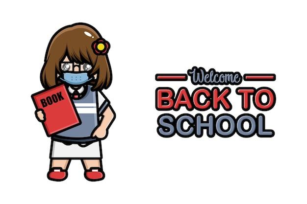 Faixa de volta à escola linda garota usando máscara