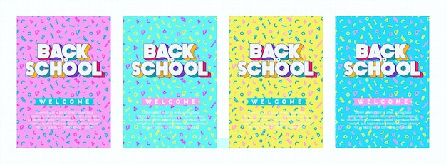Faixa de volta às aulas com colorido estilo memphis