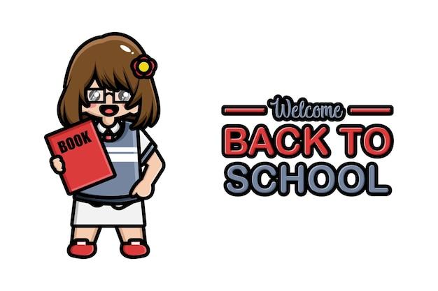 Faixa de volta para a escola linda garota com livro