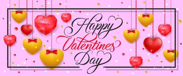 Faixa do dia dos namorados com corações pendurados