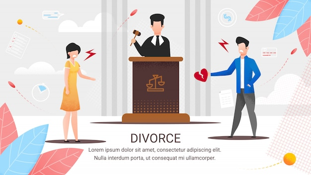 Faixa informativa de divórcio de inscrição