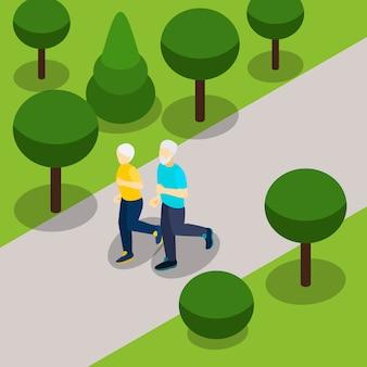 Faixa isométrica de estilo de vida ativo de aposentadoria