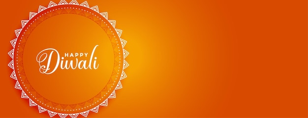 Faixa laranja feliz diwali em estilo indiano