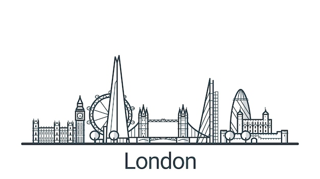 Faixa linear da cidade de londres. todos os edifícios - objetos diferentes personalizáveis com preenchimento de fundo, para que você possa alterar a composição de seu projeto. arte de linha.