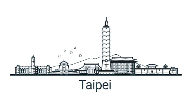Faixa linear da cidade de taipei desenhada à mão Vetor Premium