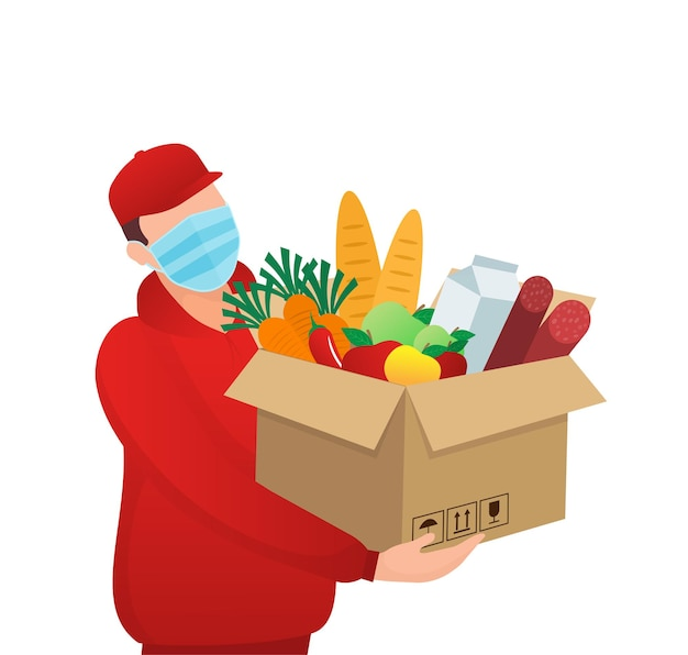 Faixa plana com serviço de entrega. serviço de entrega. serviço de entrega de comida. ilustração vetorial.