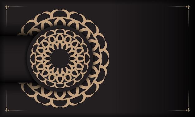 Faixa preta com enfeites luxuosos e lugar para o seu logotipo. modelo de design de impressão de cartão postal com padrões vintage.