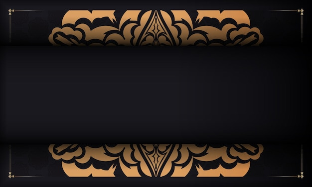 Faixa preta com enfeites luxuosos para seu logotipo. design de cartão postal de vetor com ornamentos vintage.