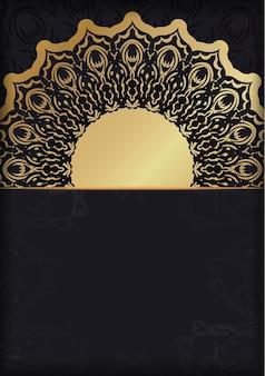 Faixa preta com ornamento de ouro luxuoso e espaço para logotipo ou texto